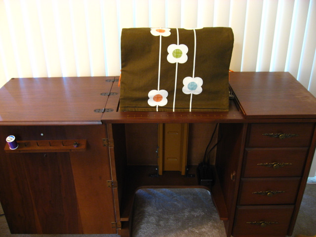 Orla Kiely Sewing Machine Cover - Front Side in Cabinet